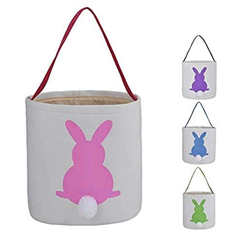 he Korb Taschen Bunny Dual Layer Printed Canvas Tote Tragen Geschenk Eier Süßigkeiten und Spielzeug für Kinder (rosa) ()
