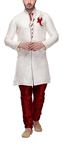 Indian Poshakh Men's Art Silk Kurta Pyjama (943-XL, Cream, X-Large)