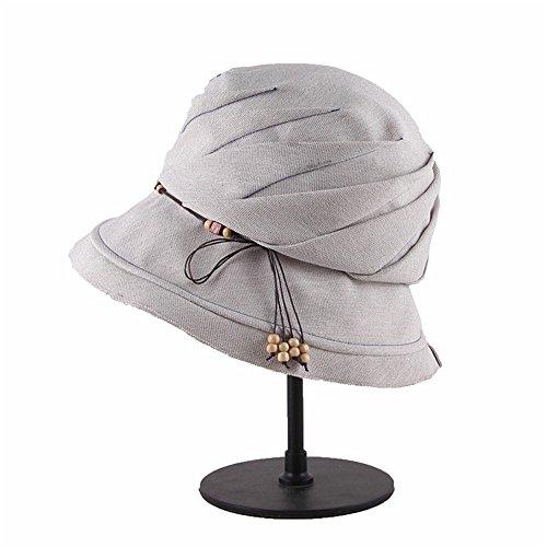 Elegant Sommer Sonnenblende für Frauen im Sonnenschutz Sonnenschutz Uv Outdoor Hüte Sommer Hüte Stilvoll (Farbe : Grau)