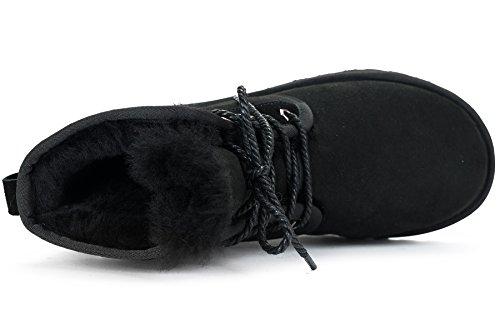 OZZEG Mode hiver Shearling masculine bottes Couple chaussures en peau de mouton doublure chaude neige Noir
