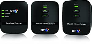 BT Mini Wi-Fi 500 Home Hotspot Powerline Adapter Kit - Black, Pack of 3