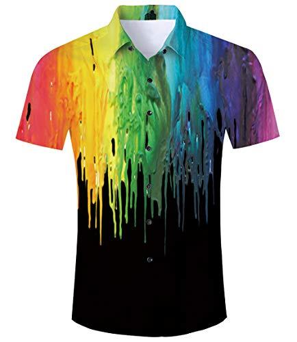 ce9a0e10c8f8bd TUONROAD Hawaiian Shirt for Men Funny Rainbow 3D Printed Beach Shirt Short  Sleeve Shit Shirt Mens
