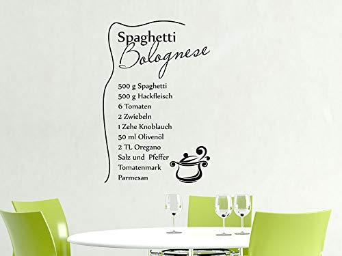 GRAZDesign Wandtattoo Küche Rezept, Spaghetti Bolognese, Küchentattoo Esszimmer / 46x30cm / 070 schwarz