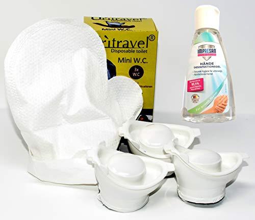 Mini Mobilurinal Uritravel 3er Set und 12 Stück Feuchthandschuhe und 50 ml Desinfektionsschaum