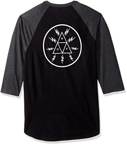 Herren Langarmshirt HUF Bolt Triangle Raglan T-Shirt black/charcoal heather