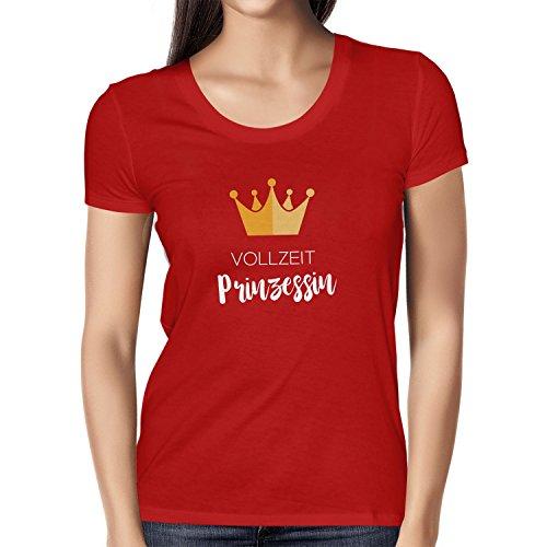 NERDO Vollzeit Prinzessin - Damen T-Shirt, Größe M, Rot (Movie Star Mädchen Kleid)