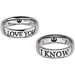 Star Wars Couple Ring Set I LOVE YOU / I KNOW SASO Anelli
