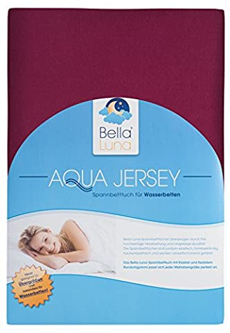 Bella Luna Aqua Jersey Fitted Sheet For Waterbeds and Box Spring Beds and Plus Size in 4Sizes and 28Colours, BLENDED FABRIC, bordeaux, 180-200 x 200-220 cm by Bella Luna