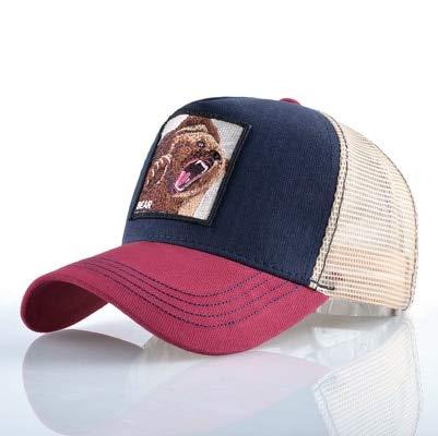 Imagen de qqyz2323 animales de la moda bordado béisbol  hombres mujeres snapback hip hop sombrero verano transpirable malla sol  unisex streetwear hueso red1 bear