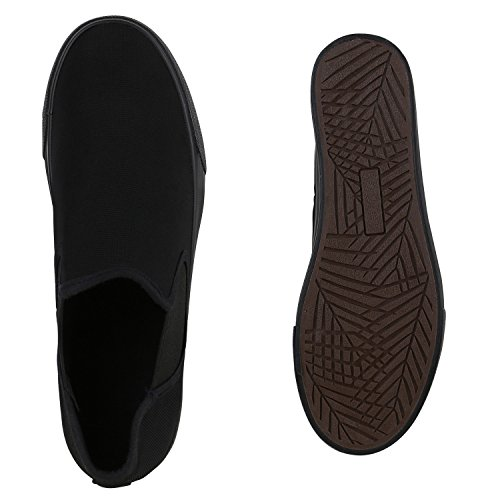 Damen Slip-ons Glitzer Plateau Slipper Metallic Trend Schuhe   Gr. 36-41   Aktuelle Kollektion Schwarz Total