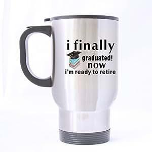 Best Graduation Tasse cadeau avec motif–Funny novetly je Enfin 165. Retraite maintenant je suis prêt à voyage en acier inoxydable tasse à thé/tasse à thé–14oz