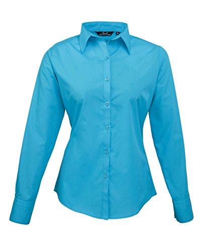 PW300 Ladies Poplin Long Sleeve Shirt (Damenbluse/Langarm) Turquoise