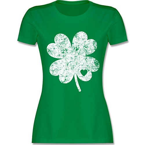 St. Patricks Day - Vintage Kleeblatt mit Herz - XXL - Grün - L191 - Damen Tshirt und Frauen T-Shirt