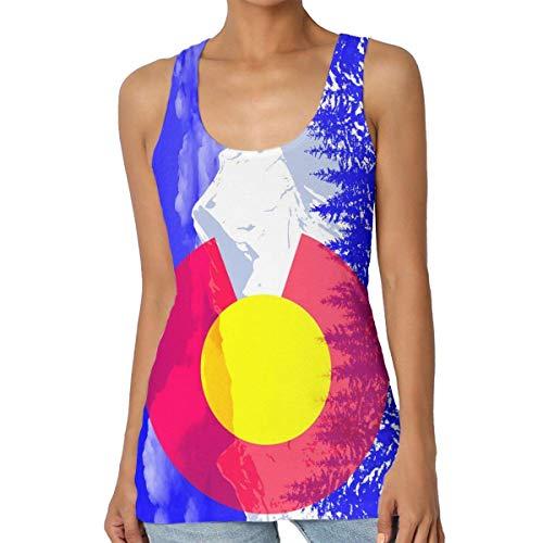 Henrnt Damen Unterwäsche/Weste,Damen Tops Sommer, Flag of Colorado Women Tank Top T-Shirt Funny Sleeveless Sport Vest Racerback -