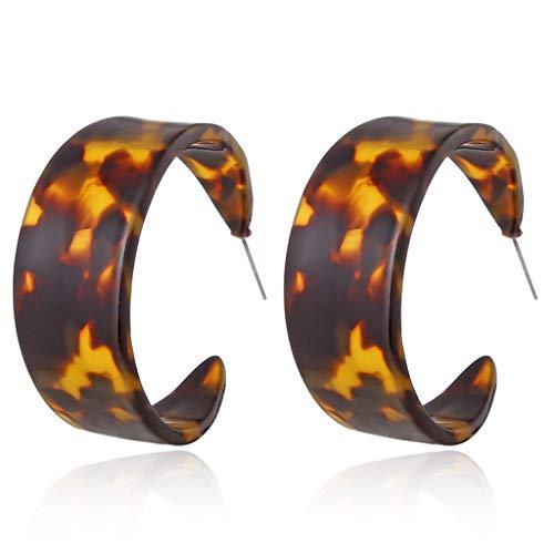 VIccoo Ohrringe,Acryl Leopard Runde Creolen Marmor Schildpatt Kreis Harz Ohrringe - 3# - 3 Light-anhänger Aus Marmor