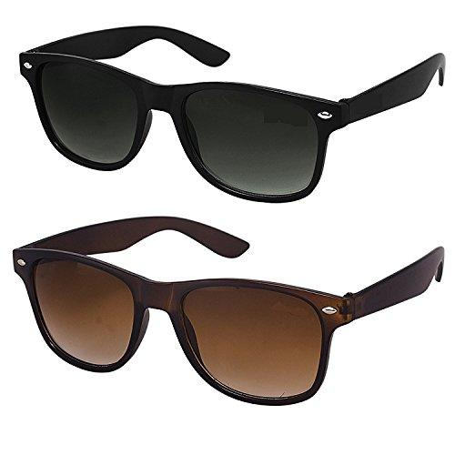 Y&S Black Brown Wayfarer Unisex Sunglasses For Mens Combo (Simple-Black-Brown-Wayfarer-Combo)