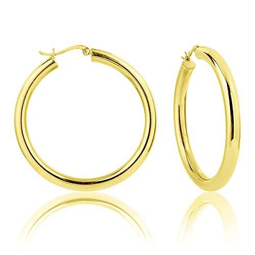 DTPsilver - Damen - Creolen - Ohrringe 925 Sterling Silber und Gelb Vergoldet - Dicke 5 mm - Durchmesser 50 mm -