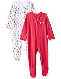 Mothercare Baby Girls' Regular Fit Cotton Sleepsuit (Pack of 2)