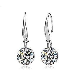 Pendientes de gota para mujer, elegantes, chapados en plata, cristal austriaco, pendientes de gota para mujer