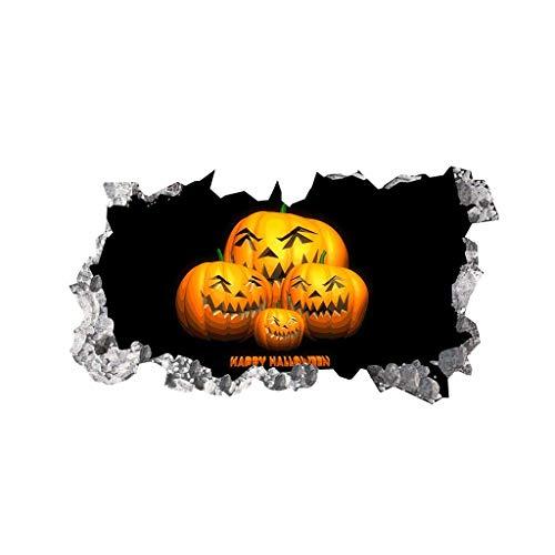 Myspace 2019 Neueste Dekoration für Halloween Kürbis 3D Broken Wandaufkleber Boden Vinyl Removable Decal Home Decor (A)