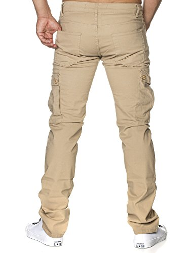 08ccc2b5ff40 ... TAZZIO Slim Fit Biker Style Herren Stretch Chino Hose Denim 16507 Beige