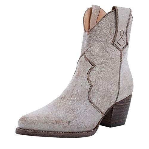 Toasye Vintage gefütterte Stiefel Damenstiefel mit seitlichem Reißverschluss und lässigen Booties Winter Schuhe gefüttert -