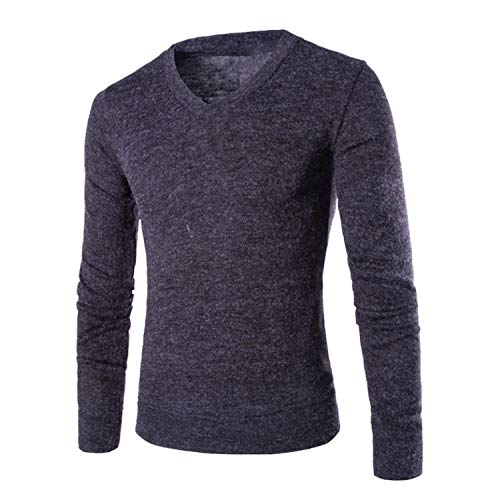 Cotton Sweater Men Long Sleeve Pullover Outwear Man V-Neck Sweaters Tops Slim Solid Fit Knitting Clothing 7 Colors Dark Grey L -