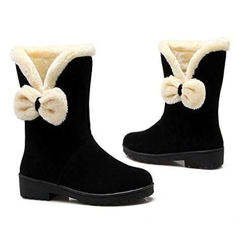 Women's Bowknot Gladiator Warm Fur Mid Calf Shoes Boots Black / USA 5