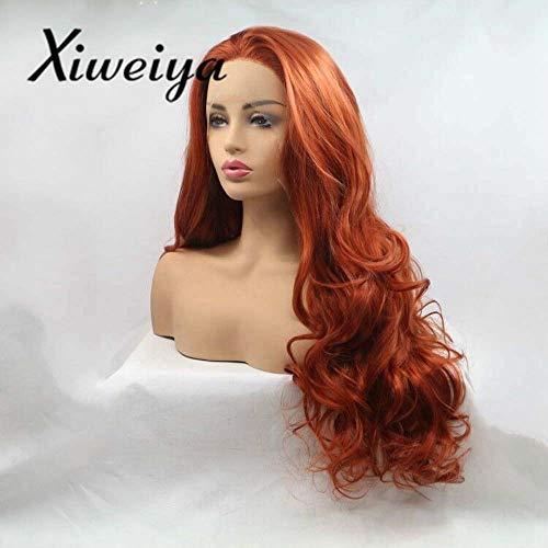 n hohe Temperatur Faser Haar Lang Natur Wave orange Auburn Kupfer Rot Synthetische Lace Front Perücke für Frauen ()