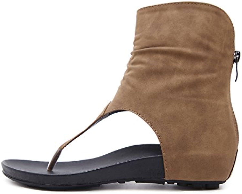 LEIT Damen Sandalen Toe Clip Low-Heeled Komfortable Fischgrat Schuhe