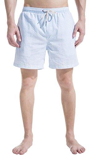Akula Herren Badeshorts Boardshorts Schwimm Shorts Trunks Baumwolle Badehose Hellblau