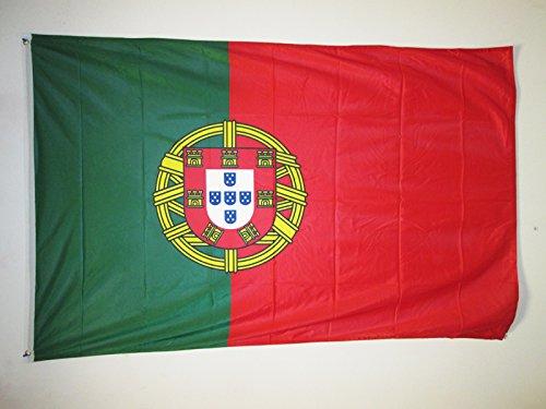 FLAGGE PORTUGAL 150x90cm - PORTUGIESISCHE FAHNE 90 x 150 cm Aussenverwendung Metallösen - flaggen AZ FLAG Top Qualität