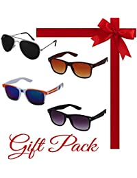 Silver Kartz Gift Pack Of Best Selling Combo Of Four Aviator And Wayfarer UV Protection Sunglasses (kr001)