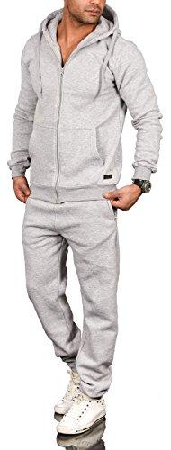 A. Salvarini Herren Jogging Anzug Trainingsanzug Sportanzug Sweatshirt AS071 [AS-071-Hellgrau-Gr.3XL]