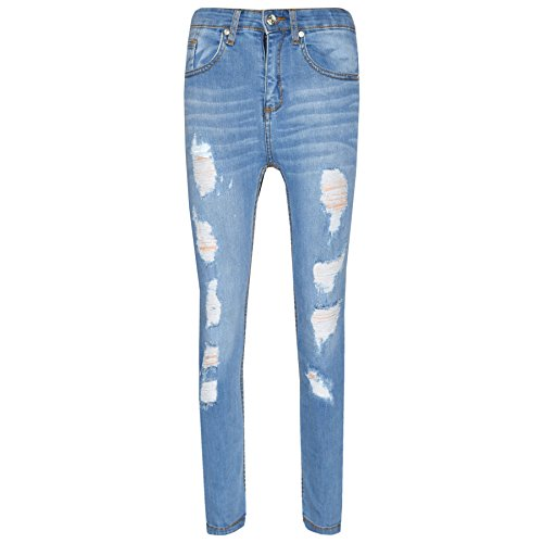 A2z 4 kids® ragazzi elastico jeans bambini designer - boys jeans ripped light blue 7-8
