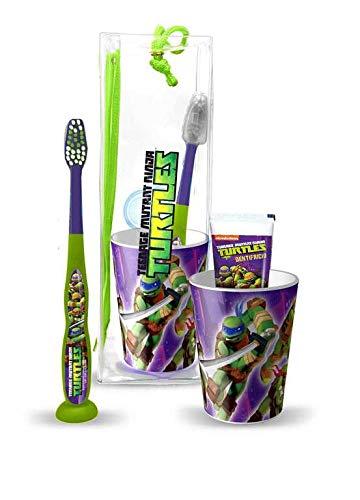 Mr White-Travel Kit/Pochette Ninja Turtles: juego de higiene dental compuesto de cepillo de dientes manual con Ventosa, Pasta de dientes ML, vaso y cómodo bolso de viaje