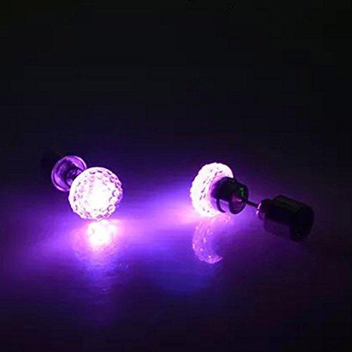 QHGstore 1Pair orecchini LED luce incandescente Bling lucido cristallo dell'orecchio Orecchino Rosa