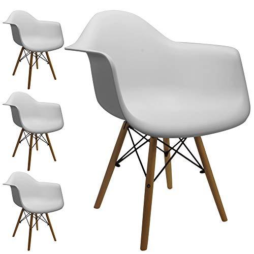 Cepewa Retro Klassiker Designer Stühle mit Armlehnen   4er Set   weiße Sitzschale   Holzbeine Natur   sehr stabil   (4er Set mit Armlehne)