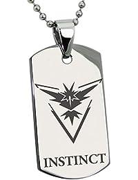 Acero Inoxidable Team Instinct Zapdos Pokémon Grabado Placa de Identificación del Colgante