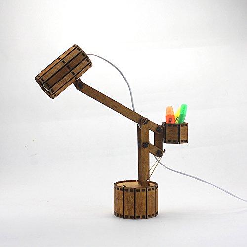 Wshfor DIY protección de Ojo de Madera de la lámpara de Tabla, Manera Creativa (Hucha y Caja de almacenaje) lámpara, marrón (Color : Roble)