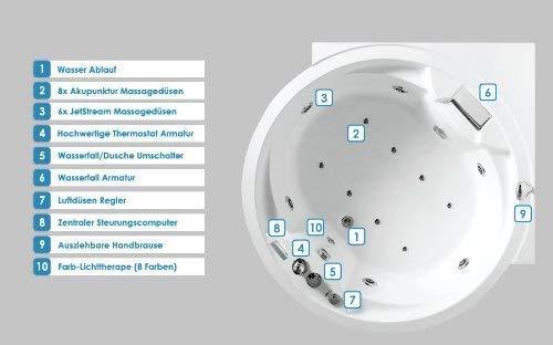 Whirlpool Badewanne Florenz mit 14 Massage Düsen + Heizung + Ozon Desinfektion + Beleuchtung / Licht + Wasserfall + Radio – Eckwanne Sprudelbad Jakuzzi indoor / innen günstig - 3