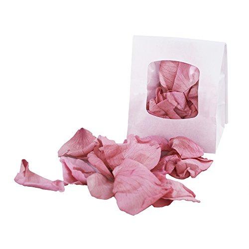 Rosenblüten getrocknet, für Blumenkinder oder Deko bei der Hochzeit, 15g echte Rosenblätter für Valentinstag, Liebeserklärung oder Heiratsantrag, - Getrocknete Rosenblätter Rosa