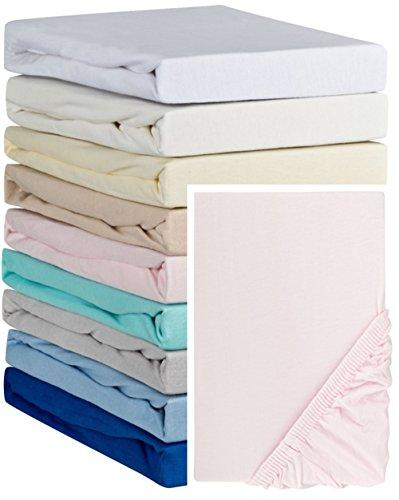 Aminata Kids Spannbettlaken á 70x140 cm aus Jersey mit Rundumgummi in Rosa Bettlaken für Kinderbett Babybett Pink Rosé Spannbetttuch Kinder Mädchen Kinderbettgröße Baumwolle