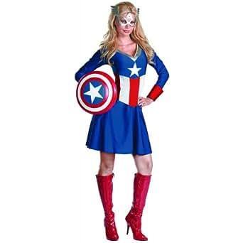 D-guisement Captain America 179197 Femme Classique Costume adulte - Bleu - Petit - 4-6
