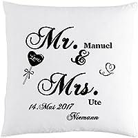 Bedrucktes Kissen mit Spruch ++ Mr. und & Mrs. mit Wunschnamen und Hochzeits-Datum individuelles Geschenk zur Hochzeit personalisiert