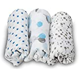 LuvLap 100% Cotton Muslin Baby Swaddles - Stars Print 0+ Month
