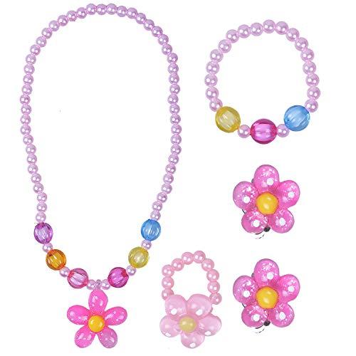 Larcenciel Kinder Schmuck Blumen Halskette Armband Ring Ohrring Set Bonbonfarben Halsketten Kinder Spielen Pretend Dress Up (5 Pcs Pink) - Mädchen Spielen Schmuck-set