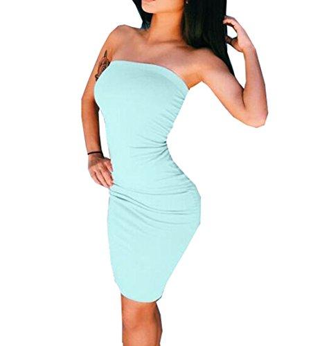 Damen Verband figurbetonten Ärmelloses Abendkleid Party Midi Kleider Hell  Blau