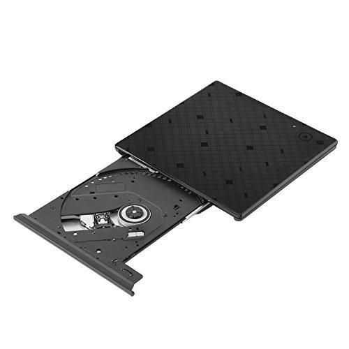 Externes DVD Laufwerk, Yokkao USB 3,0 Extern optische CD/DVD Brenner Touch Control für Laptops, Desktops, Notebooks - Schwarz