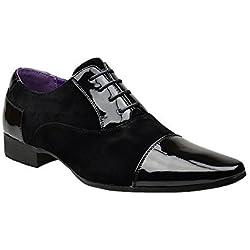 Da uomo Nuovo Casual Eleganti In Pelle Nero con lacci scarpe Taglia 67891011, nero (Black), 42.5